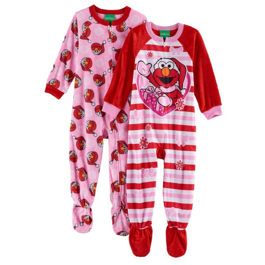 ced195c49f Details about ELMO 2T 3T 4T Toddler Girl FOOTED PAJAMA Blanket Sleeper  Christmas SESAME STREET