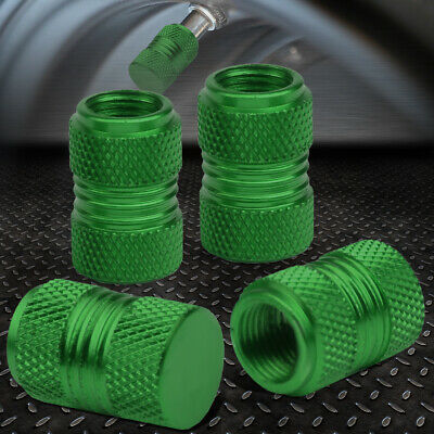 4PCS ALUMINUM WHEEL/TIRE/RIM KNURLED AIR PORT COVER VALVE STEM CAPS 17MM GREEN
