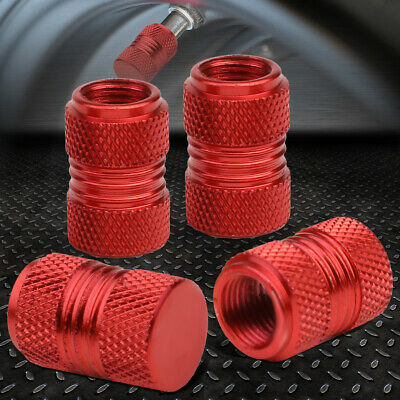 4PCS ALUMINUM WHEEL/TIRE/RIM KNURLED AIR PORT COVER VALVE STEM CAPS 17MM RED