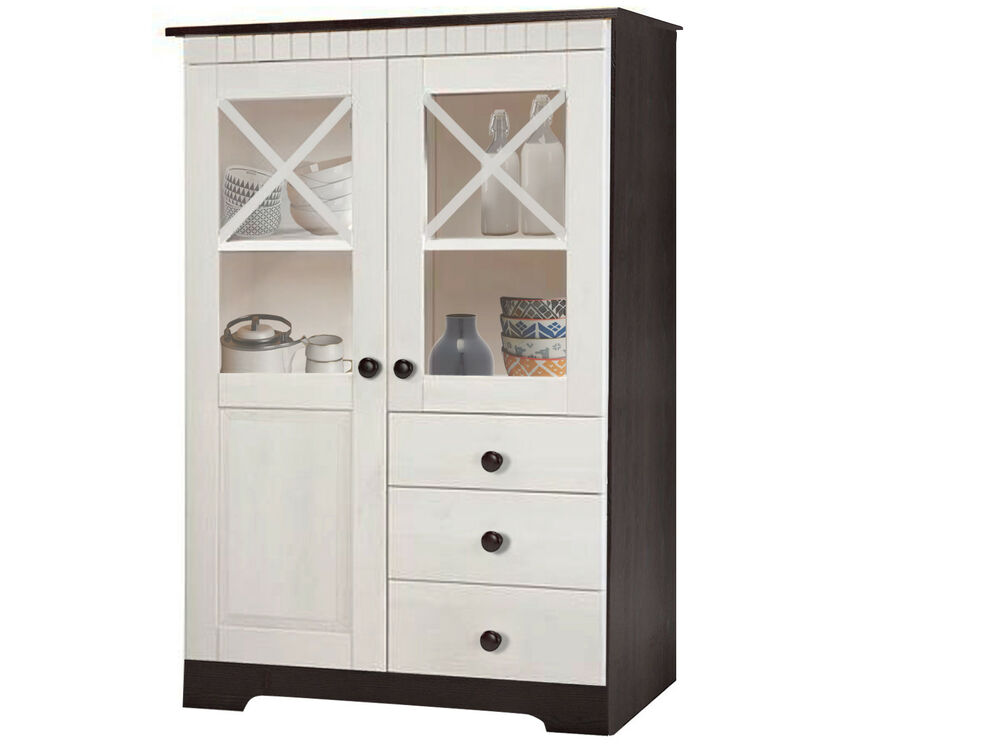 k che buffet schrank buffetschrank 84x125 cm glast r landhaus kiefer massiv wei ebay. Black Bedroom Furniture Sets. Home Design Ideas