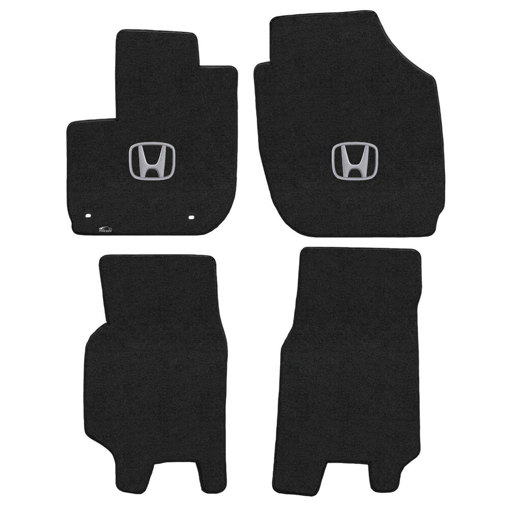 Details About For Honda Fit 2017 Front Rear Floor Mats Ebony W H Silver Logo 620170