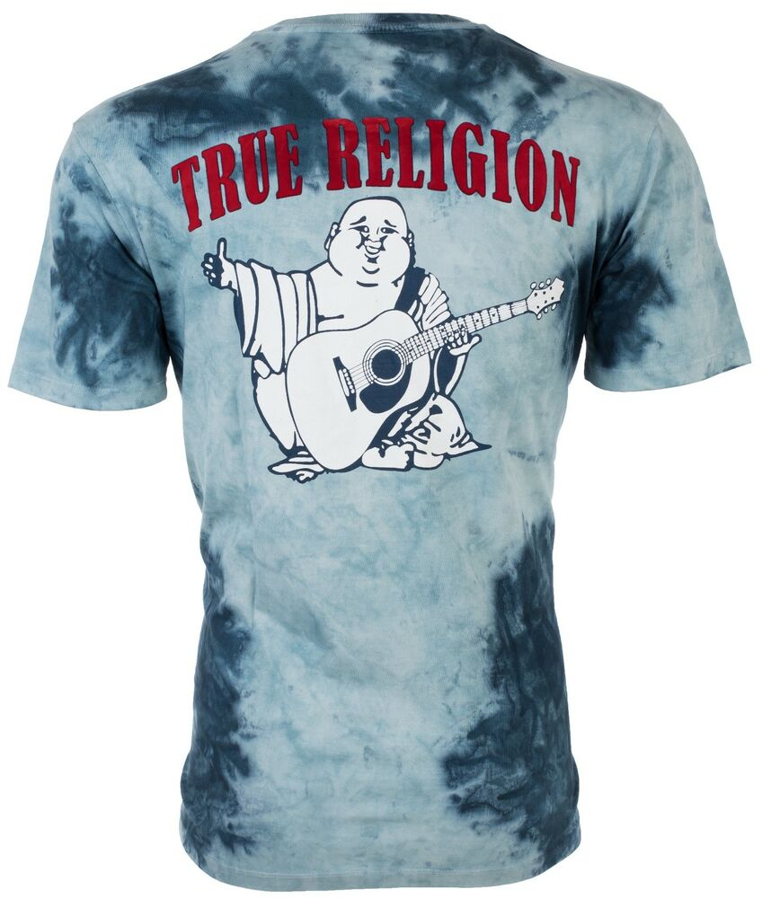 true religion mens tshirt tie dye buddha ocean waves blue