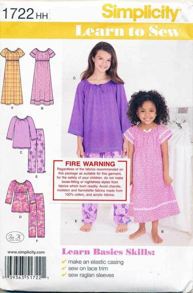 066d161f86 Details about SIMPLICITY SEWING PATTERN 1722 GIRLS 3-6 EASY  LEARN-TO-SEW   PYJAMAS   NIGHTGOWN
