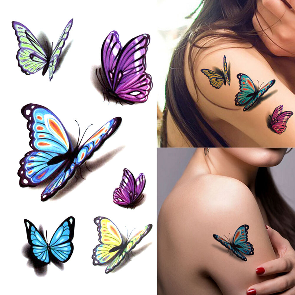 5 Pcs Fashion Removable 3D Butterfly Tattoo Sticker Temporary Body ...