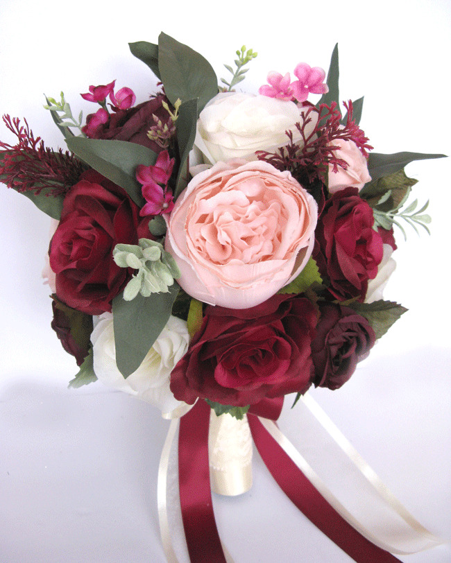 Wedding Bridal Flowers: 17 Piece Wedding Bouquet Package Bridal Silk Flower