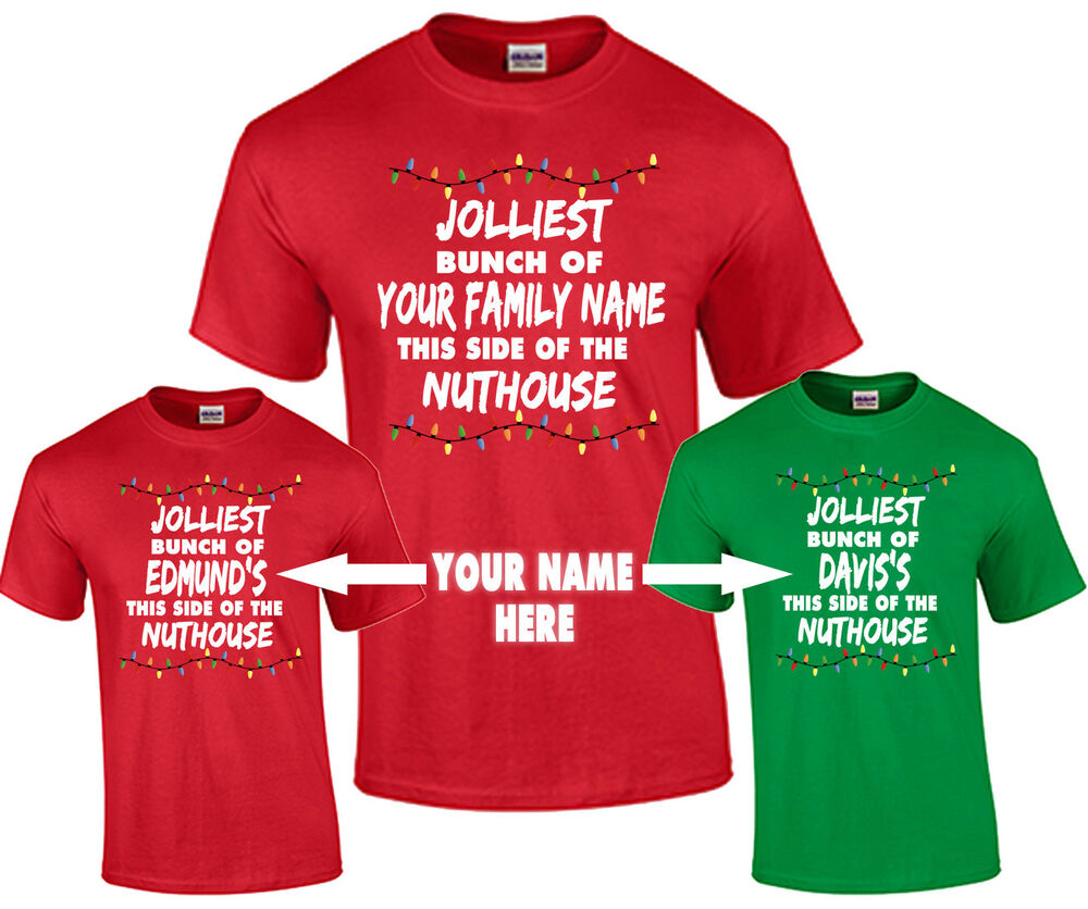 Personalized Family Name Christmas T-Shirt Jolliest Bunch of Your ...