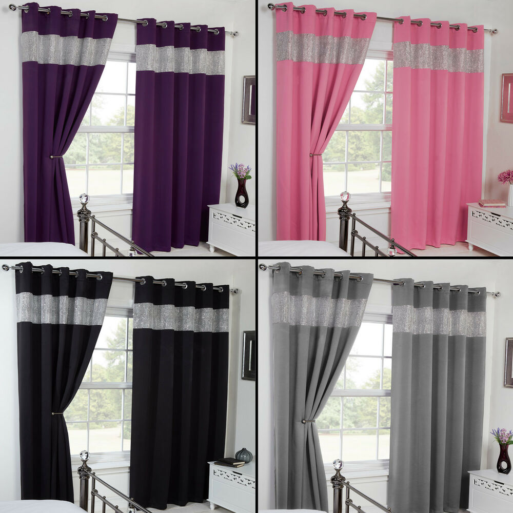Thermal Blackout Diamante Eyelet Ring Top Pair Of Curtains