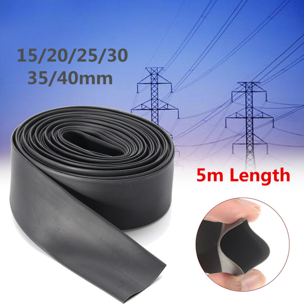 5m Black 21 Heat Shrink Tubing Tube Sleeve Wrap Wire Cable 15 20 25 Auto Wiring Harness 30 35 40mm Ebay