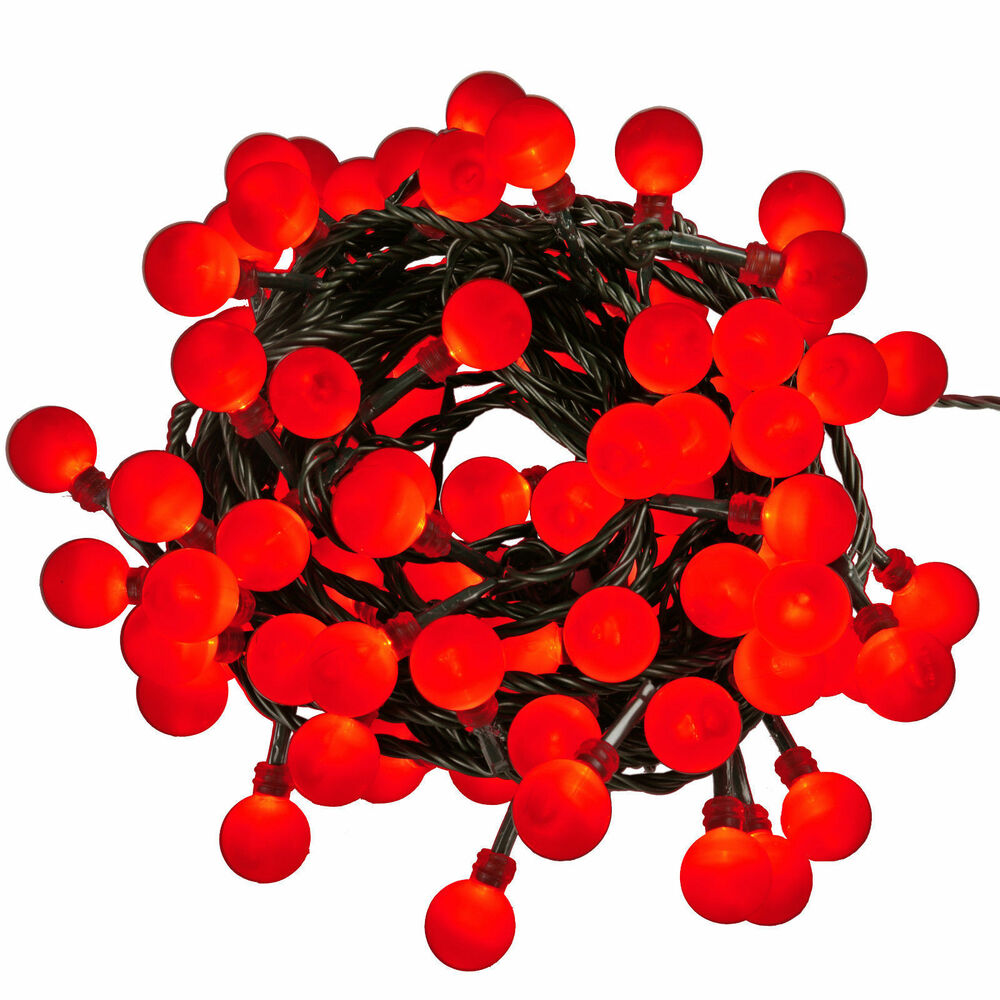 80 RED HOLLY BERRY CHRISTMAS TREE LED LIGHTS 13M MAINS IN ...