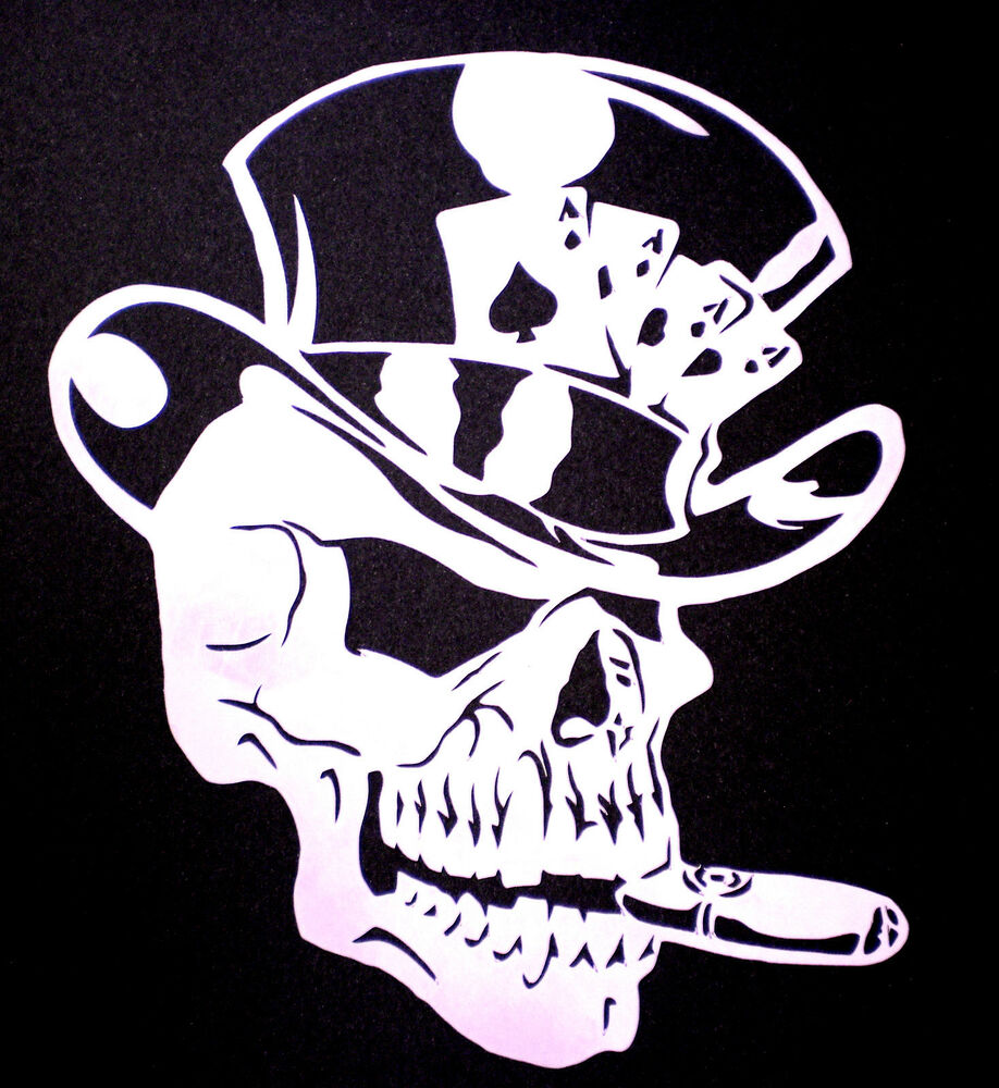 high detail airbrush stencil the gambler skull FREE UK ...