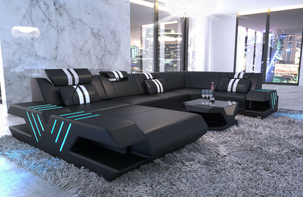 leder wohnlandschaft luxus design sofa venedig u form couch led usb ottomane ebay. Black Bedroom Furniture Sets. Home Design Ideas