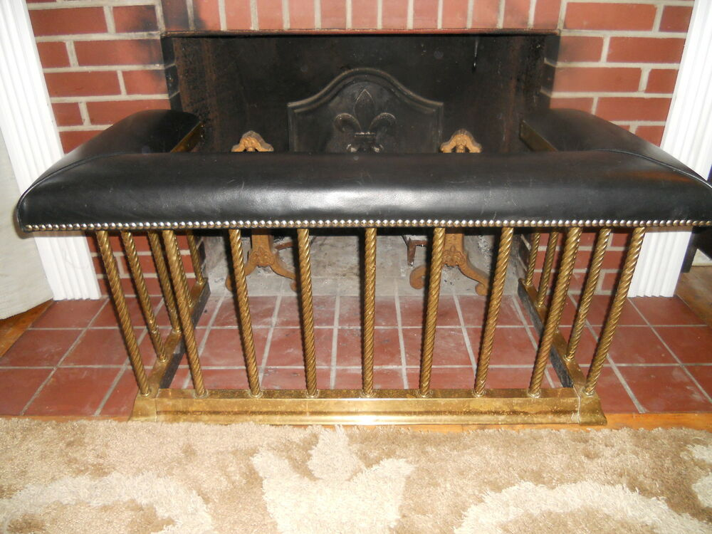 Antique English Brass Club Fender Fireplace Seat Bench 1890 Leather