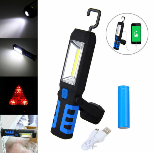 LED COB Inspection Work Light Lamp Flexible Rechargeable Hand Torch Magnetic USB