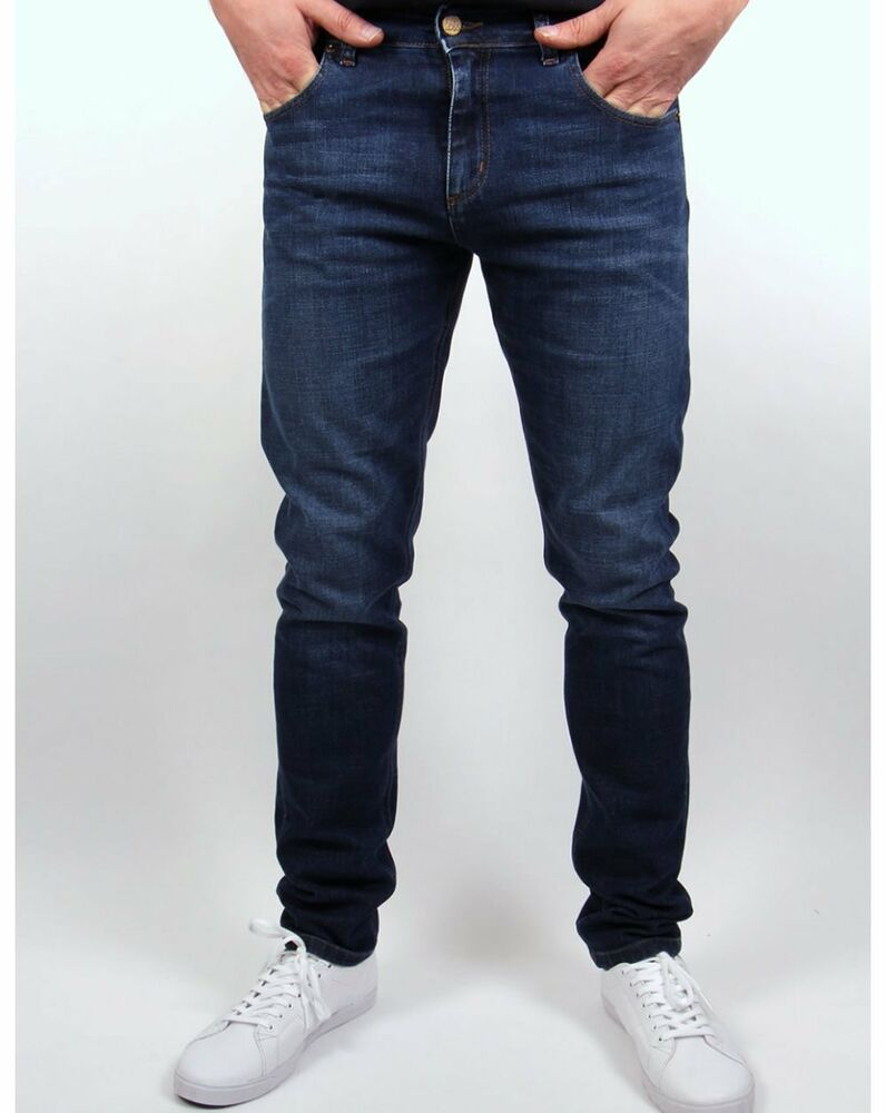 5969dc43a3b Details about Lois - Sky Slim Fit Jeans in Dark Stone Wash - Blue Bull Tab  80s Casuals