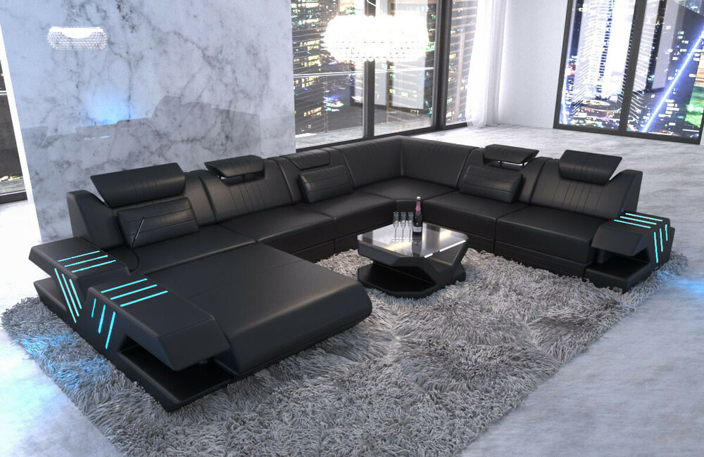 wohnlandschaft xxl leder couch designer sofa venedig ottomane led usb schwarz ebay. Black Bedroom Furniture Sets. Home Design Ideas