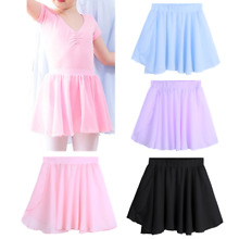 US Girls Ballet Tutu Dance Wear Kids Chiffon Dance Wrap Skirt Dress Gym Costume