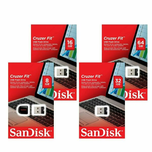 Sandisk 8/16/32/64GB GB Fit CZ33 USB 2.0 Chiave Flash Stick Drive Chiavetta