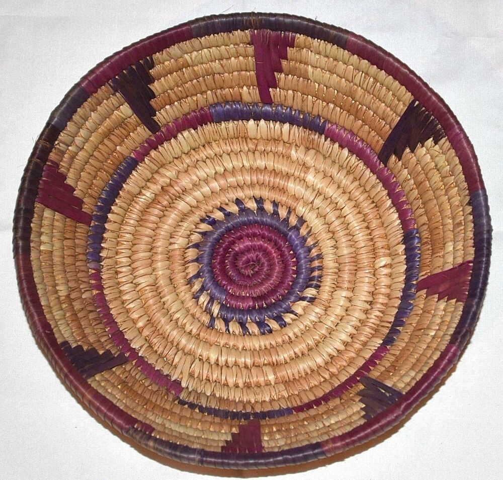 African Baskets: African Hausa Tribal People Woven Coil Traditional Savanna