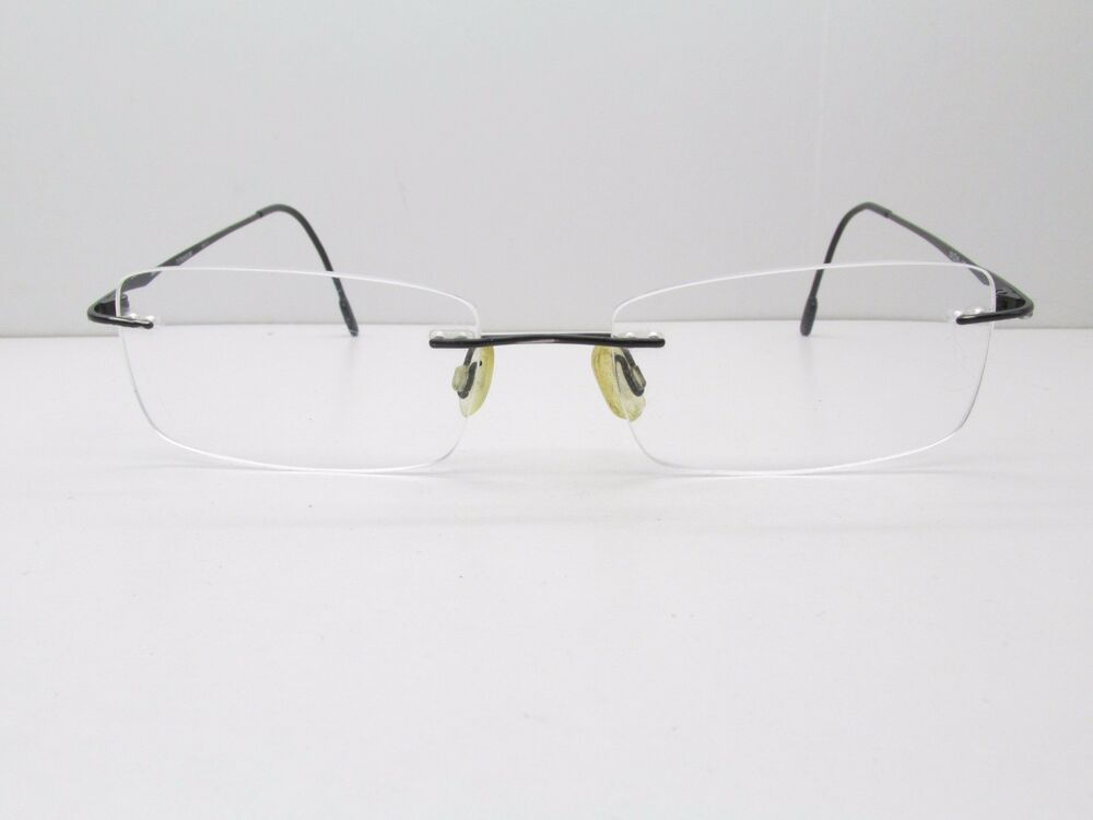 Nikon Titanium EYEGLASSES FRAMES 53-18-140 Black Drill Mount Rimless ...