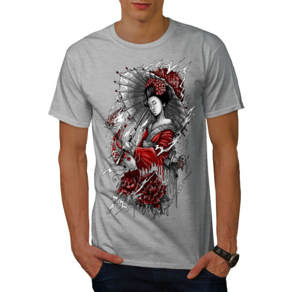 Wellcoda Umbrella Japan Mens T-shirt, Woman Graphic Design Printed Tee