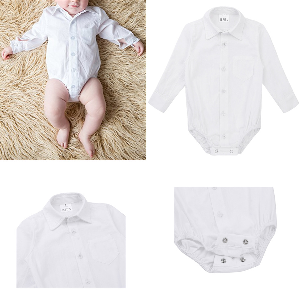 Baby Boy Toddler White Smart Shirt Formal Long Sleeve Bodysuit Body