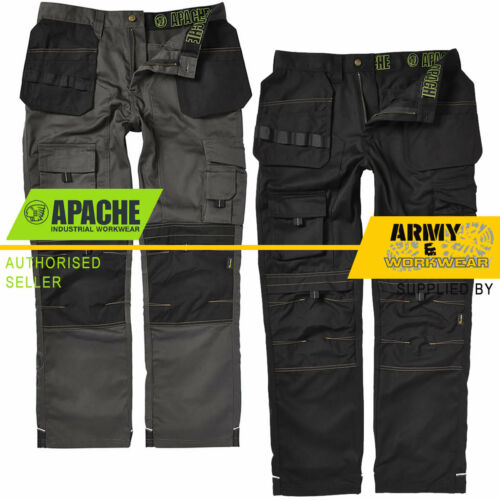 Apache Mens Heavy Duty Cargo Work Cordura Trousers Knee Pad & Holster Pockets