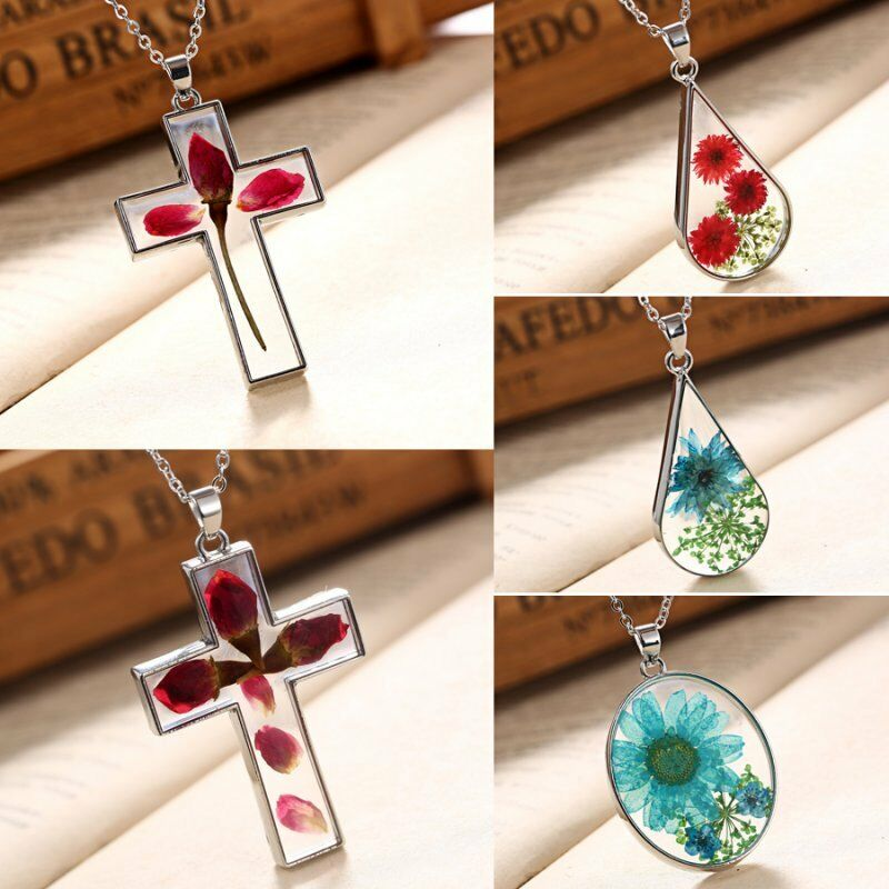 Natural Real Dried Rose Flower Glass Cross Drop Pendant