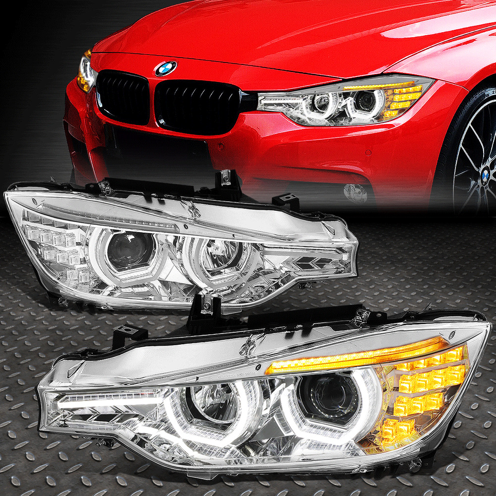[LED 3D CRYSTAL U-HALO+DRL]FOR 2012-2016 BMW 3-SERIES F30