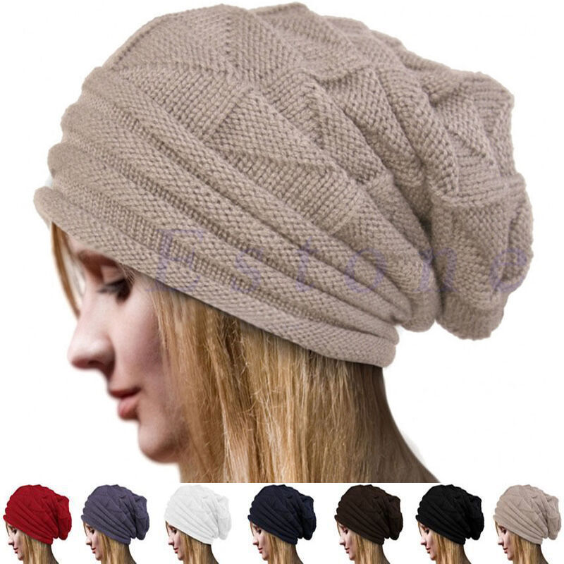 10d508ae1dd Details about Women s Men s Knit Baggy Beanie Oversize Winter Hat Ski  Slouchy Cap Skull Hats