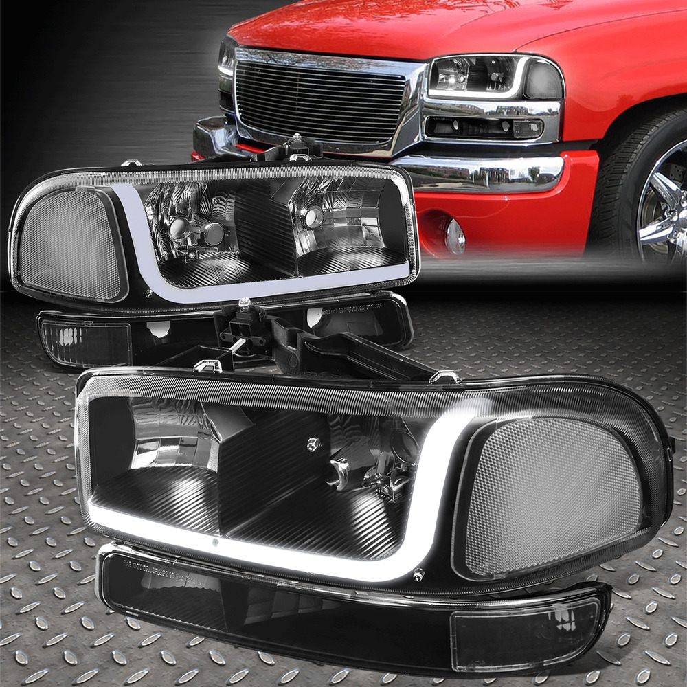 Details About For 99 07 Gmc Sierra Yukon Led Drl Black Clear Headlights W Per Signal Lamps