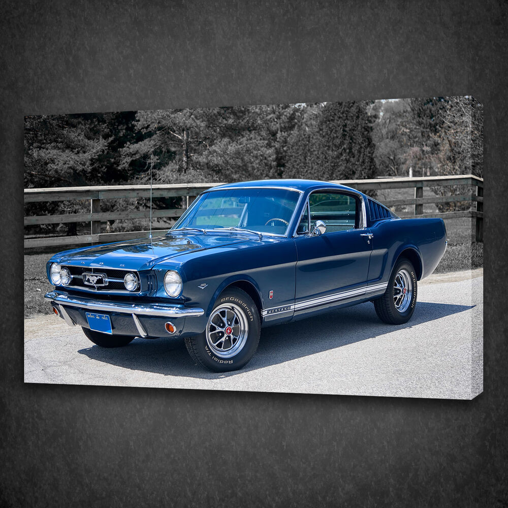 Details about 1965 ford mustang gt vintage car box mounted canvas print wall art picture photo
