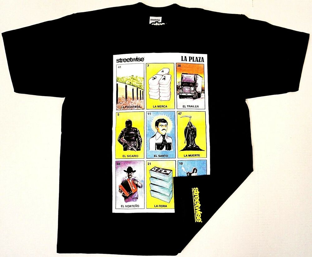 b5973077d6c STREETWISE LA PLAZA T-shirt Loteria Mexican Card Game Adult Mens Tee NWT
