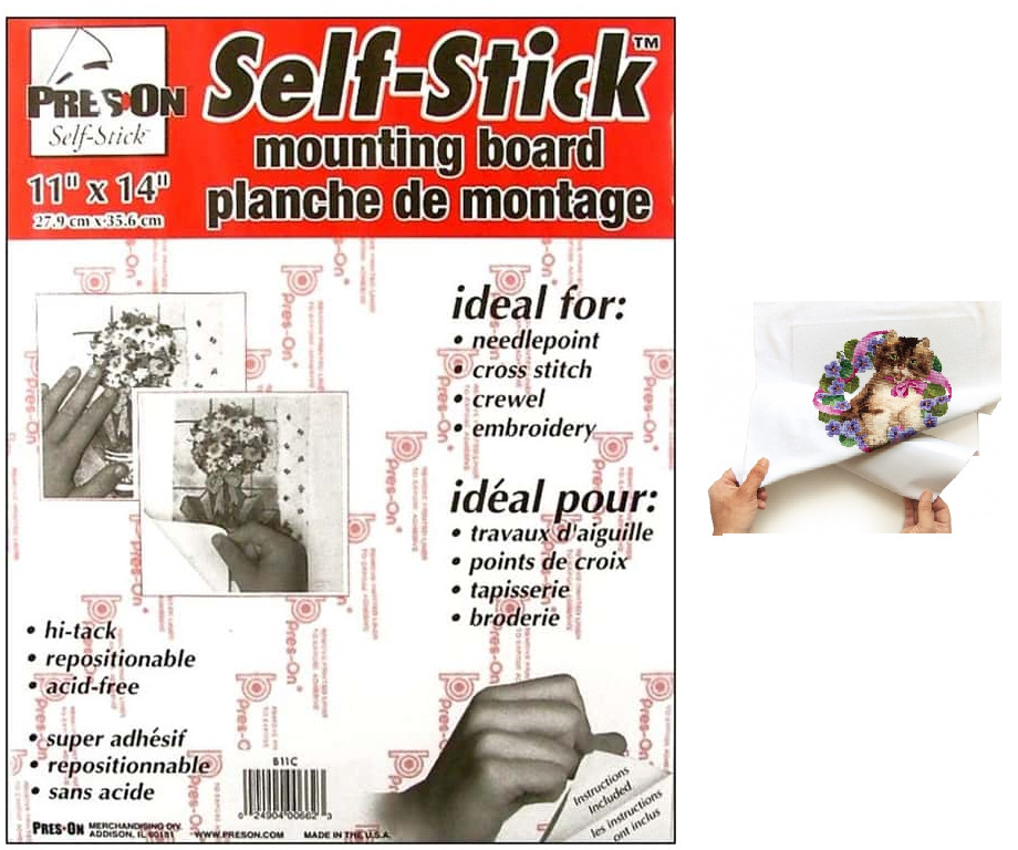 self stick adhesive backed mounting board for cross stitch