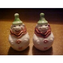 VINTAGE SALT AND PEPPER SHAKERS, ROUND CLOWNS