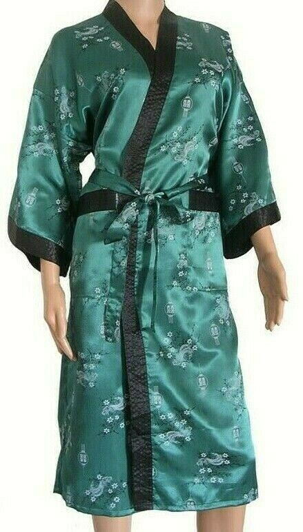 e3b8b3e1382f Details about Mens or Womens Kimono Dressing Gown Dark Green Bath Robe  Pajamas Night Sleepwear