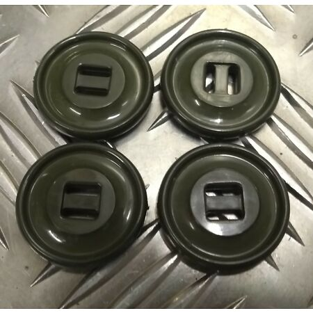img-Genuine Vintage Military Issue 2 Slot Plastic Parka/Smock Buttons Green X4 27mm