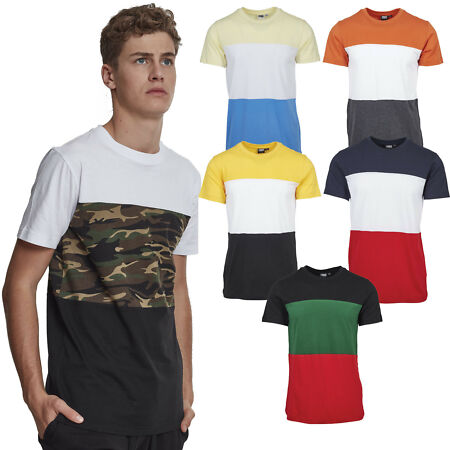 img-Urban classics Color Block T-Shirt Long 3-Tone Colourful Stripes Camo