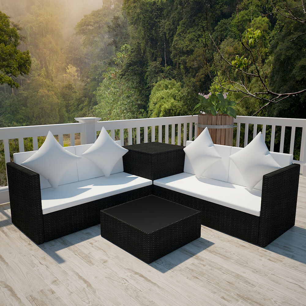 vidaxl poly rattan lounge set schwarz gartenm bel sitzgarnitur sitzgruppe sofa ebay. Black Bedroom Furniture Sets. Home Design Ideas