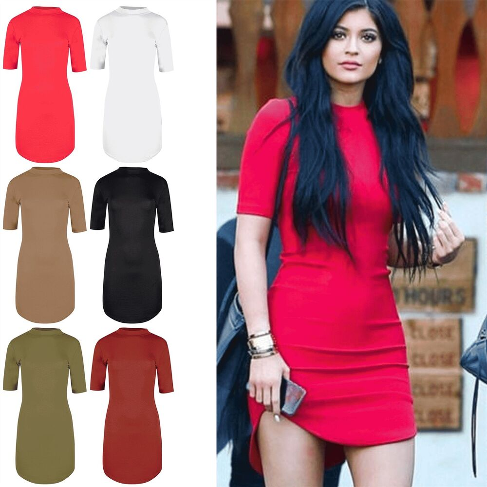 a09dcdaf55f Details about Womens Polo Turtle High Neck Curved Hem Party 3 4 Short  Sleeve Bodycon Dresses