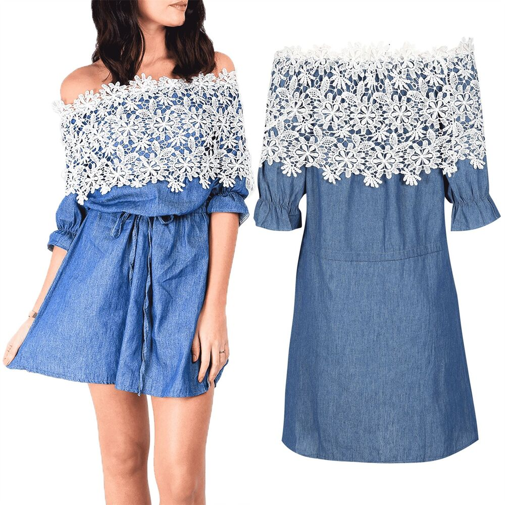 f130de63d9 Details about Ladies Womens Bardot Belted Off The Shoulder Frill Embroidery  Denim Skater Dress