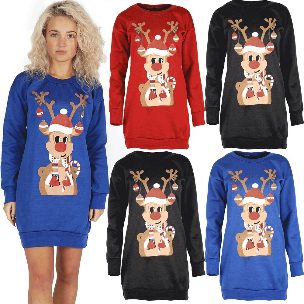 9e5b11b04a4 Details about Womens Candy Stick Hat Reindeer Bells Ladies Xmas Long Tunic Jumper  Sweatshirt