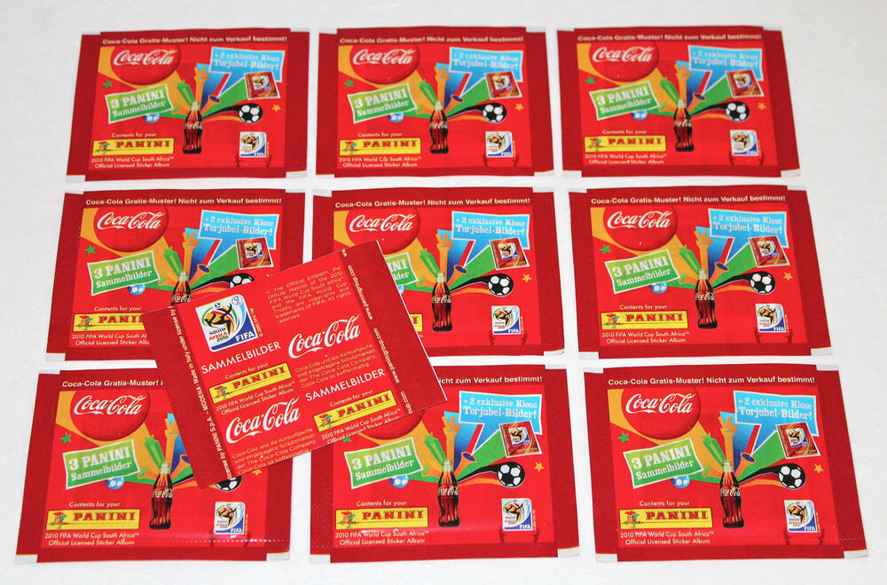 panini wc wm 2010 south africa 10 x t te packet coca cola klose germany rare ebay. Black Bedroom Furniture Sets. Home Design Ideas