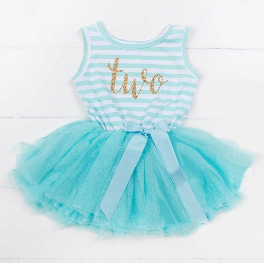 Details About Girls 2nd BIRTHDAY DRESS Toddler PARTY Tutu Ballet Blue Outfit Cake Smash UK