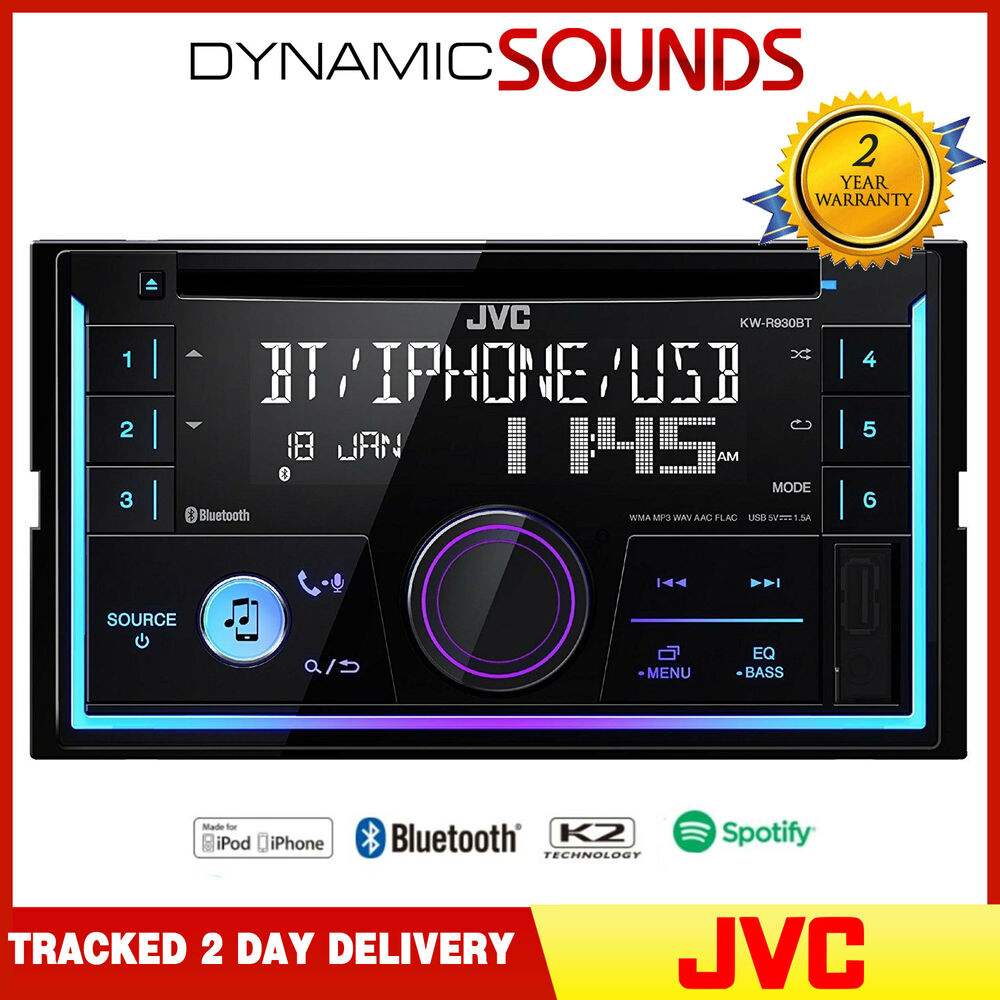 jvc kw r930bt double din bluetooth cd mp3 flac usb aux. Black Bedroom Furniture Sets. Home Design Ideas
