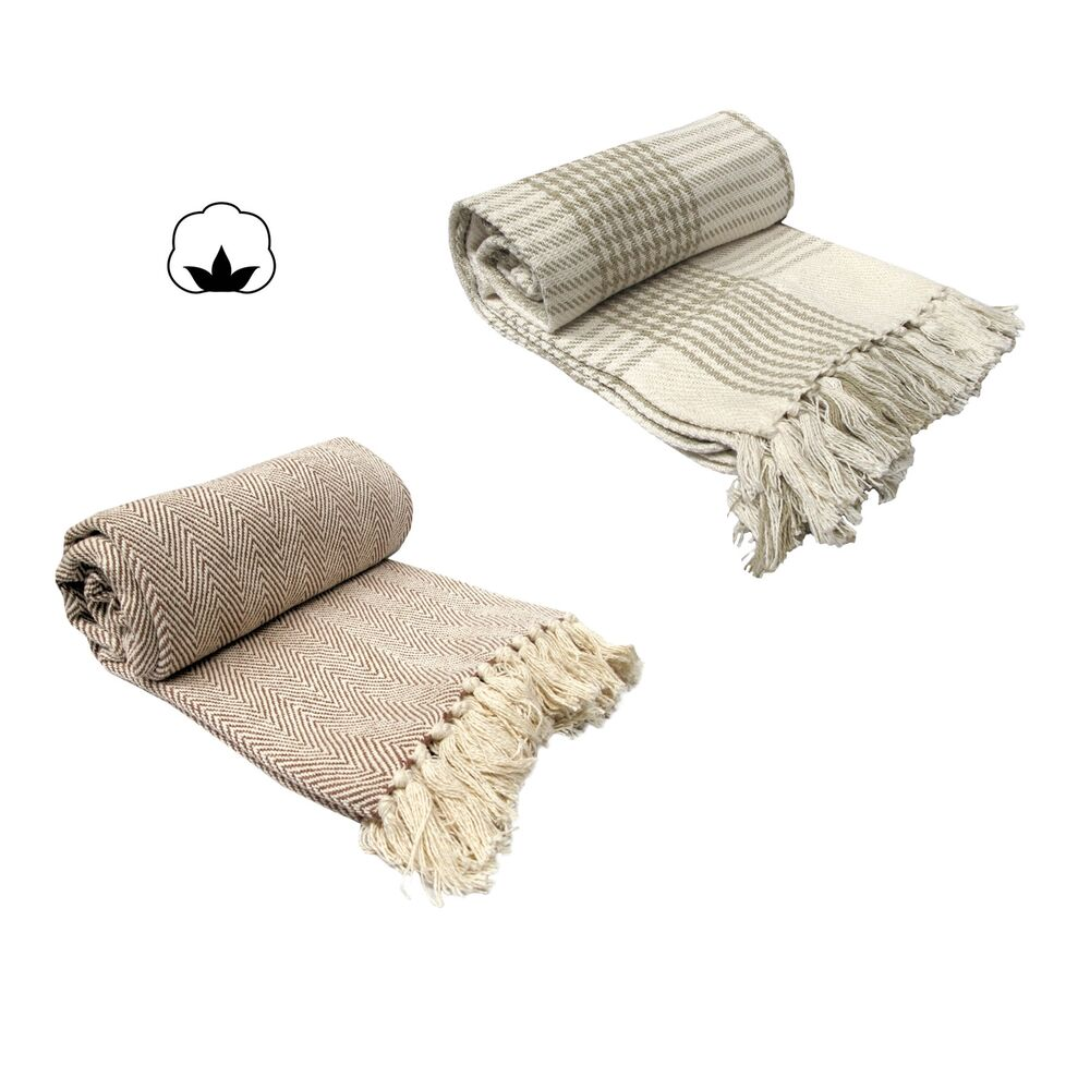 100 Cotton Knitted Fringe Lounge Sofa Bed Throw Rug