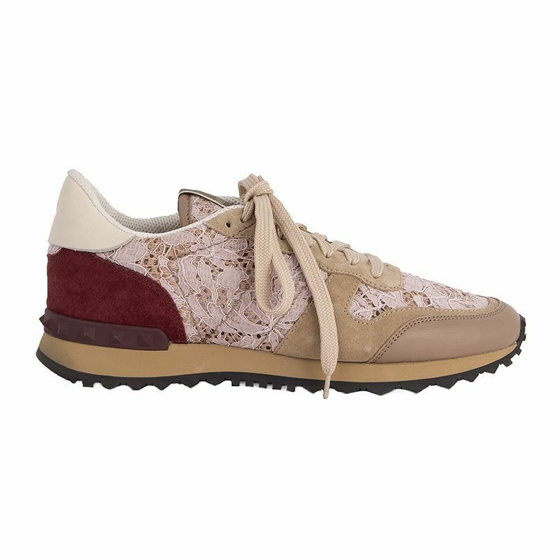 919c9f716deee Details about 52941 auth VALENTINO beige suede & pink LACE ROCKRUNNER  Sneakers Shoes 38