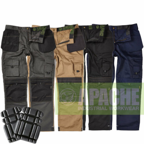 Apache Mens Heavy Duty Cargo Work Cordura Trousers Holster Pocket FREE KNEE PADS