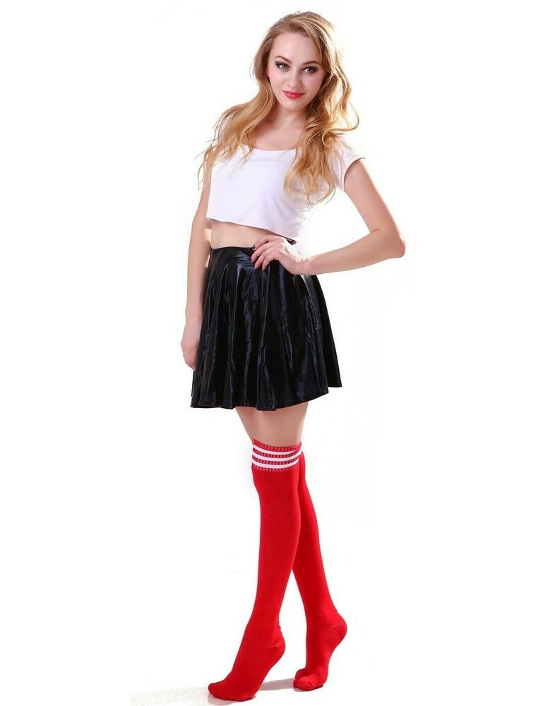 7317e2437f481 Women's Thigh High Over-Knee Athletic Soccer Rugby Sports Fashion Tube Socks  | eBay