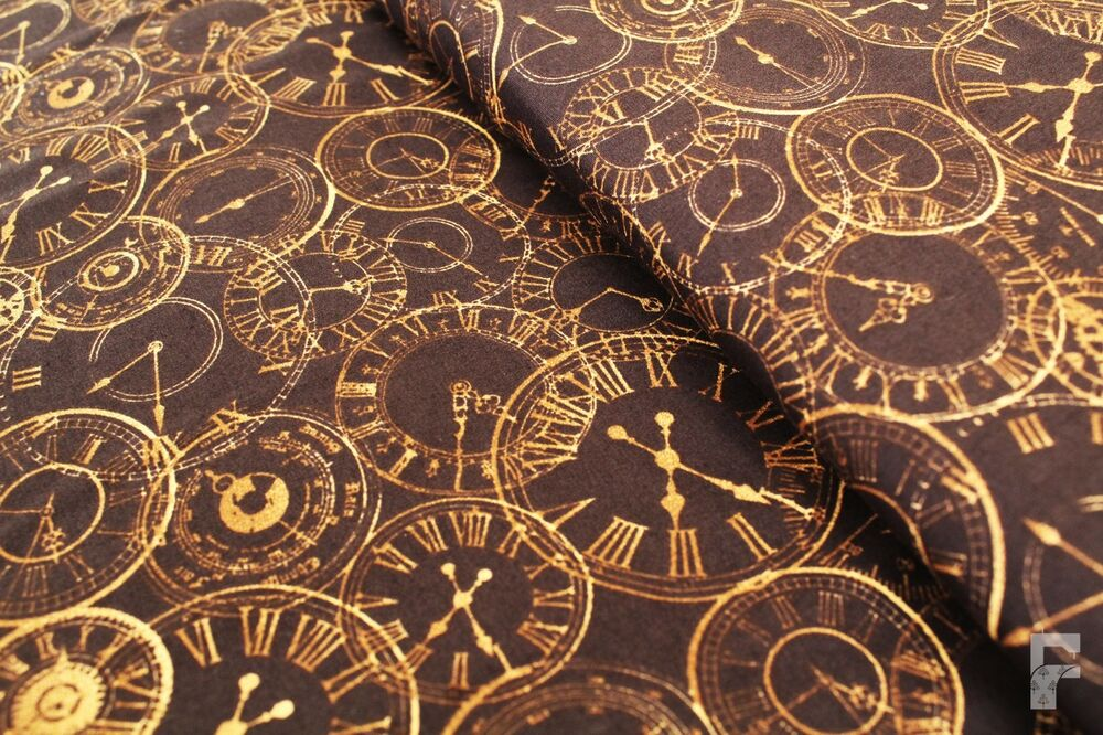 Details About 100 Cotton Printed Fabric Steam Punk Range Clocks Dials