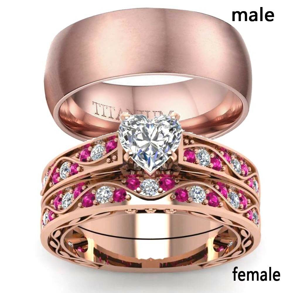 2 Rings Couple Rings Rose Gold Titanium Steel Mens Ring Heart Zircon ...